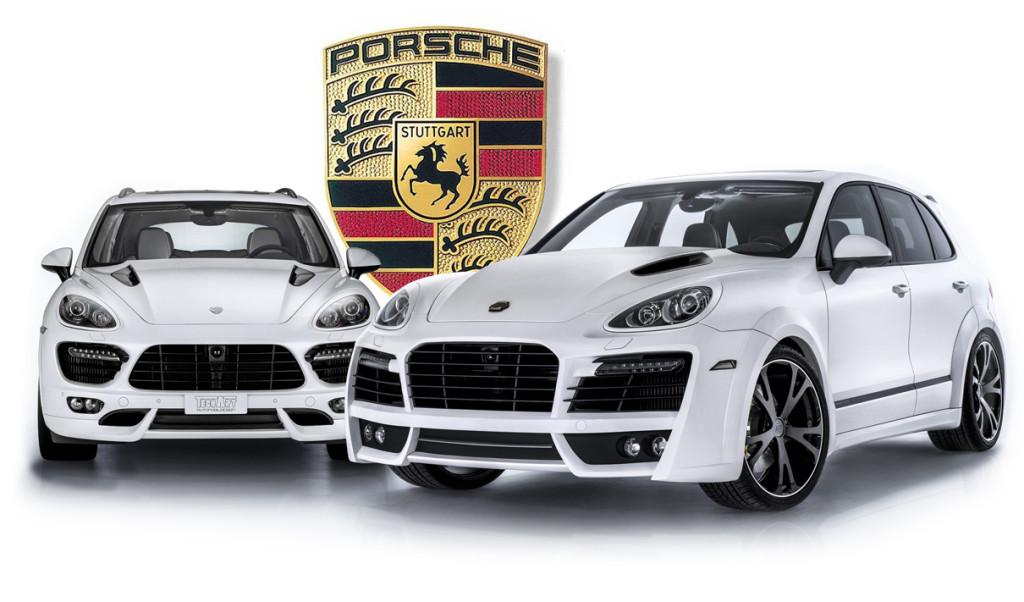 To hvite Porsche Cayenne klare for montering av Webasto parkeringsvarmer.